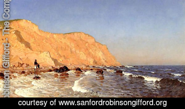 Sanford Robinson Gifford - Clay Bluffs on No Man's Land (or Bass Fishing, No Man's Land)