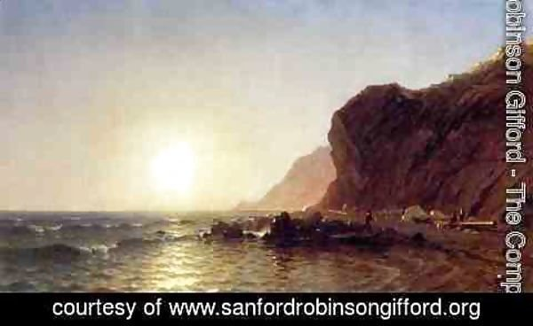 Sanford Robinson Gifford - Sunset on the Shore of No Man's Land - Bass Fishing