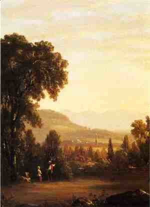 Sanford Robinson Gifford - Landscape with Village in the Distance