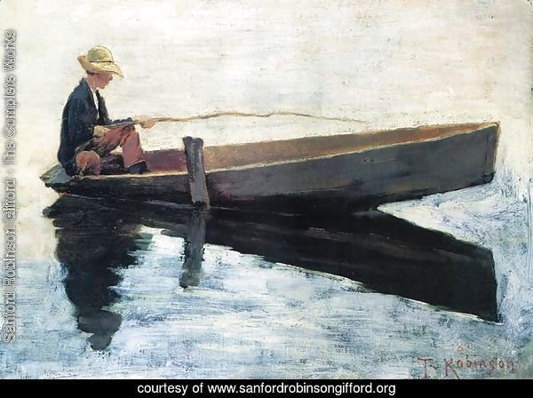 Boy in a Boat Fishing 1880