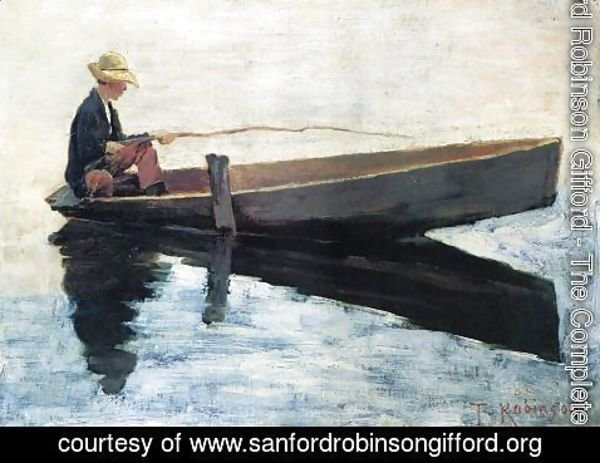 Sanford Robinson Gifford - Boy in a Boat Fishing 1880