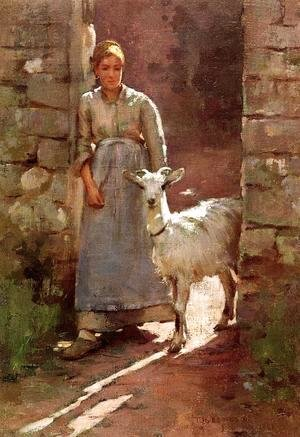 Sanford Robinson Gifford - Girl with Goat 1886