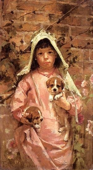 Sanford Robinson Gifford - Girl with Puppies 1881
