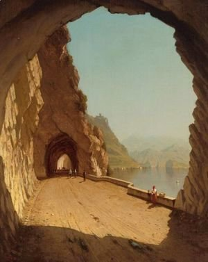 Sanford Robinson Gifford - The Galleries Of The Stelvio, Lake Como