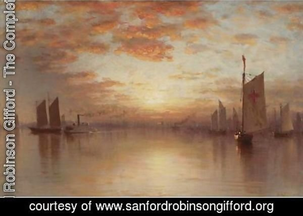 Sanford Robinson Gifford - Sunset Over New York Bay