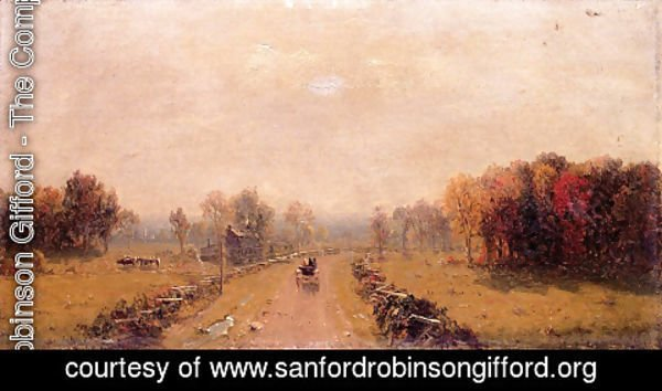 Sanford Robinson Gifford - Carriage On A Country Road