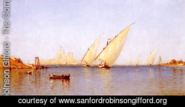 Sanford Robinson Gifford - Fishing Boats Coming Into Brindisi Harbor